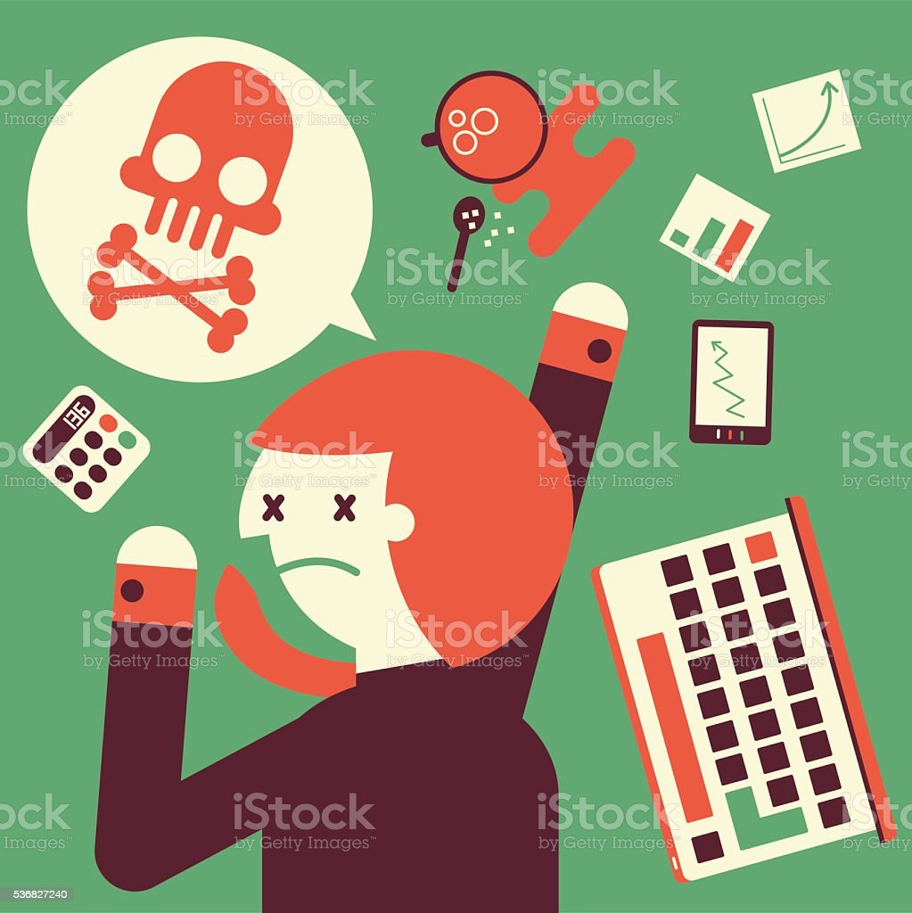 Overworked to Death vector art illustration