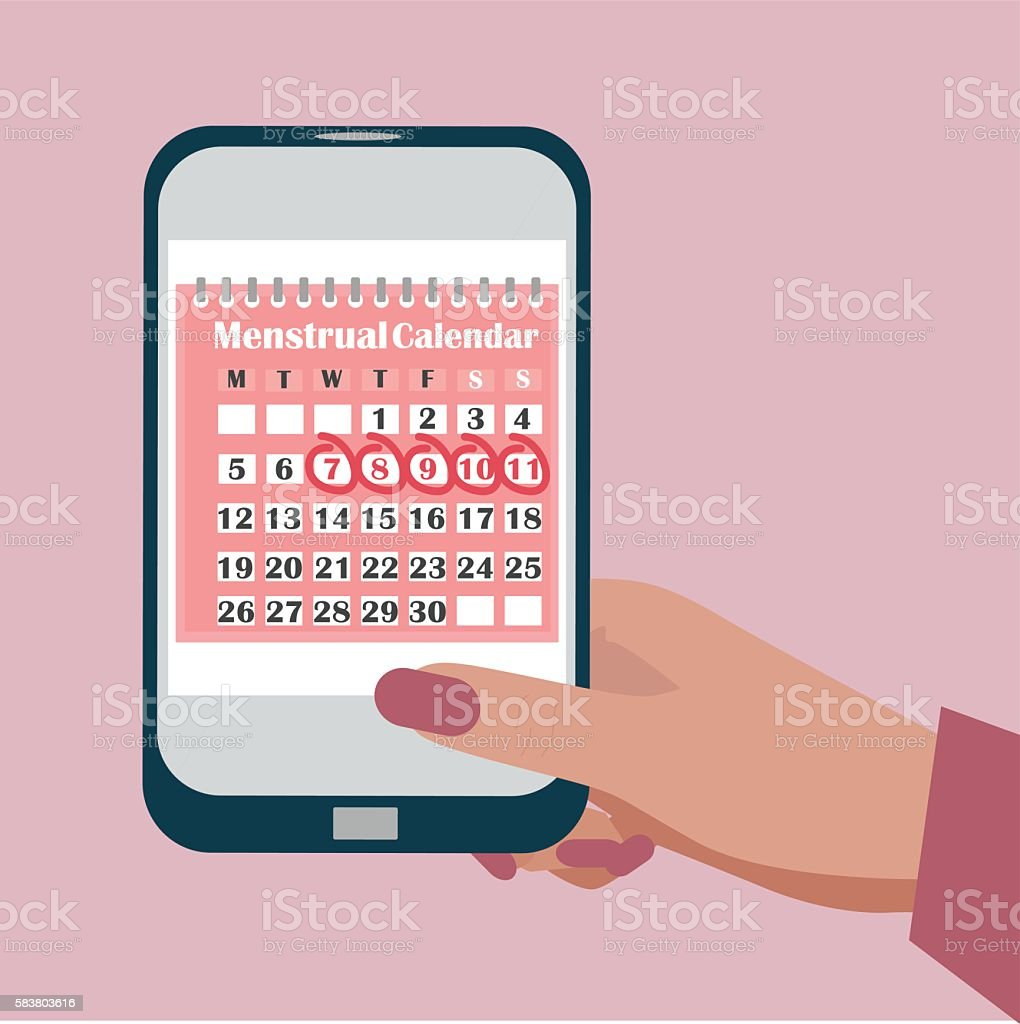 Ovulation calendar with marks menstrual days applications for mobile phone vector art illustration