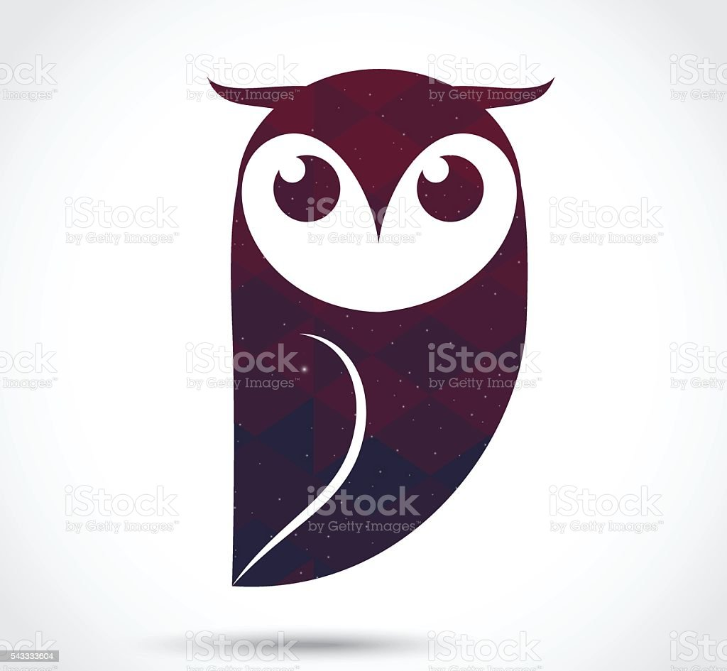 Owl abstract icon isolated on white vector art illustration
