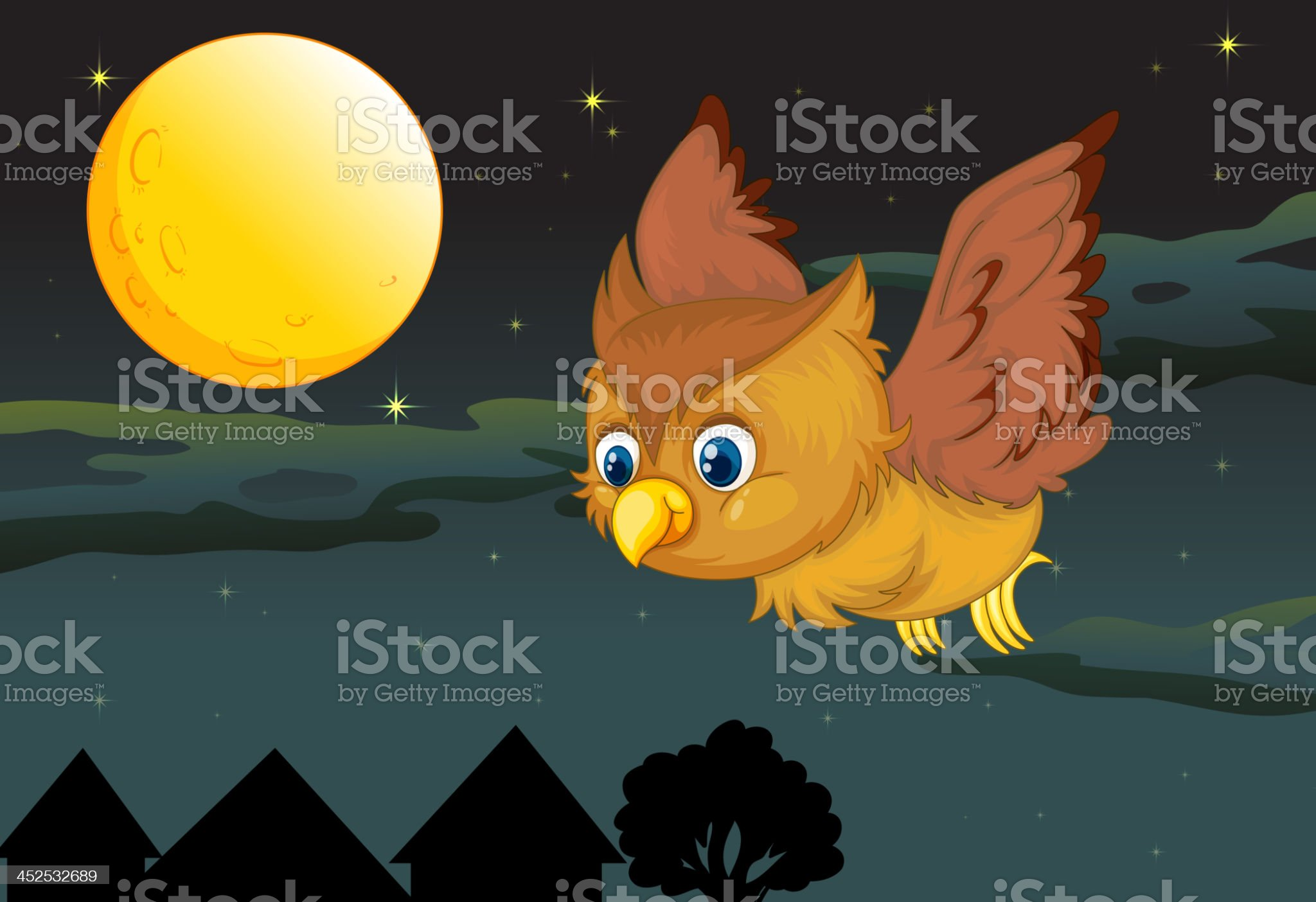 owl and full moon royalty-free stock vector art