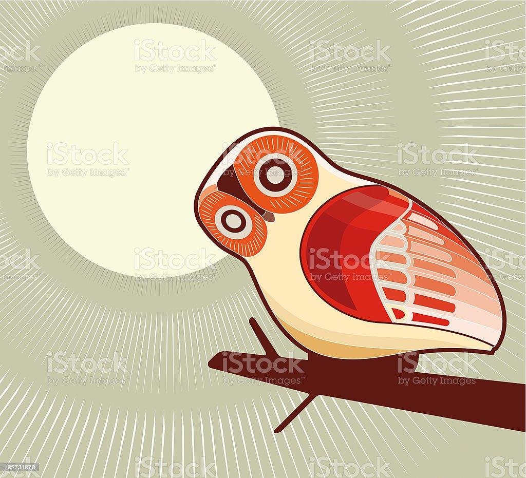 owl and moonlight vector art illustration