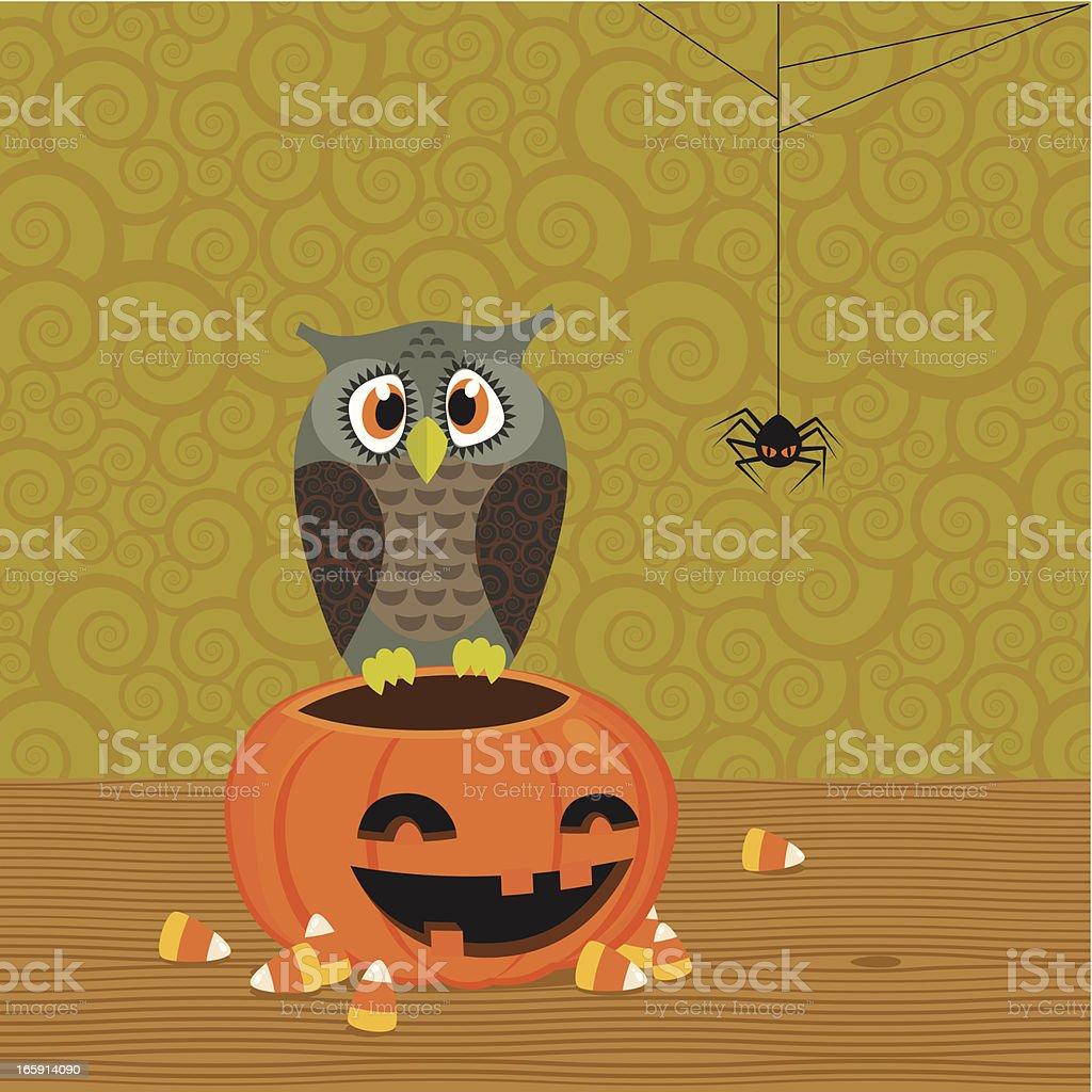 Owl and pumpkin royalty-free stock vector art