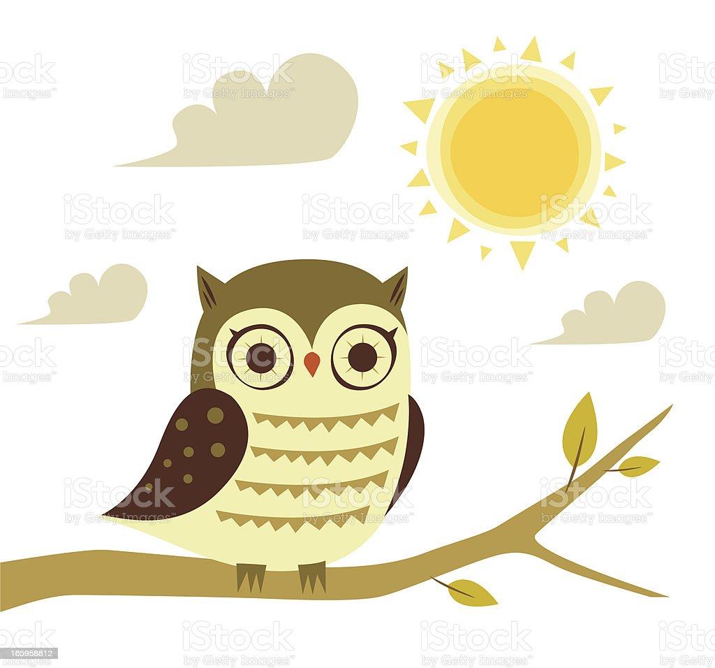 Owl and sun royalty-free stock vector art