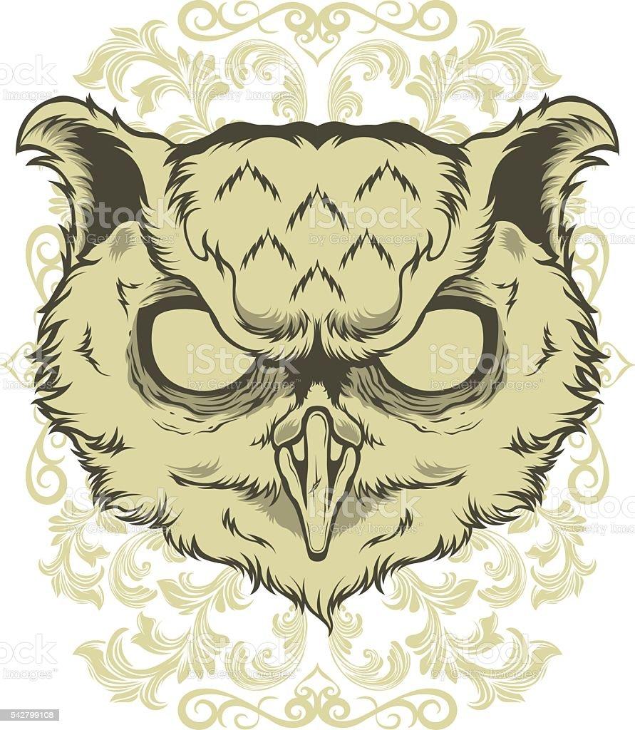 Owl art vector animal flower vector art illustration