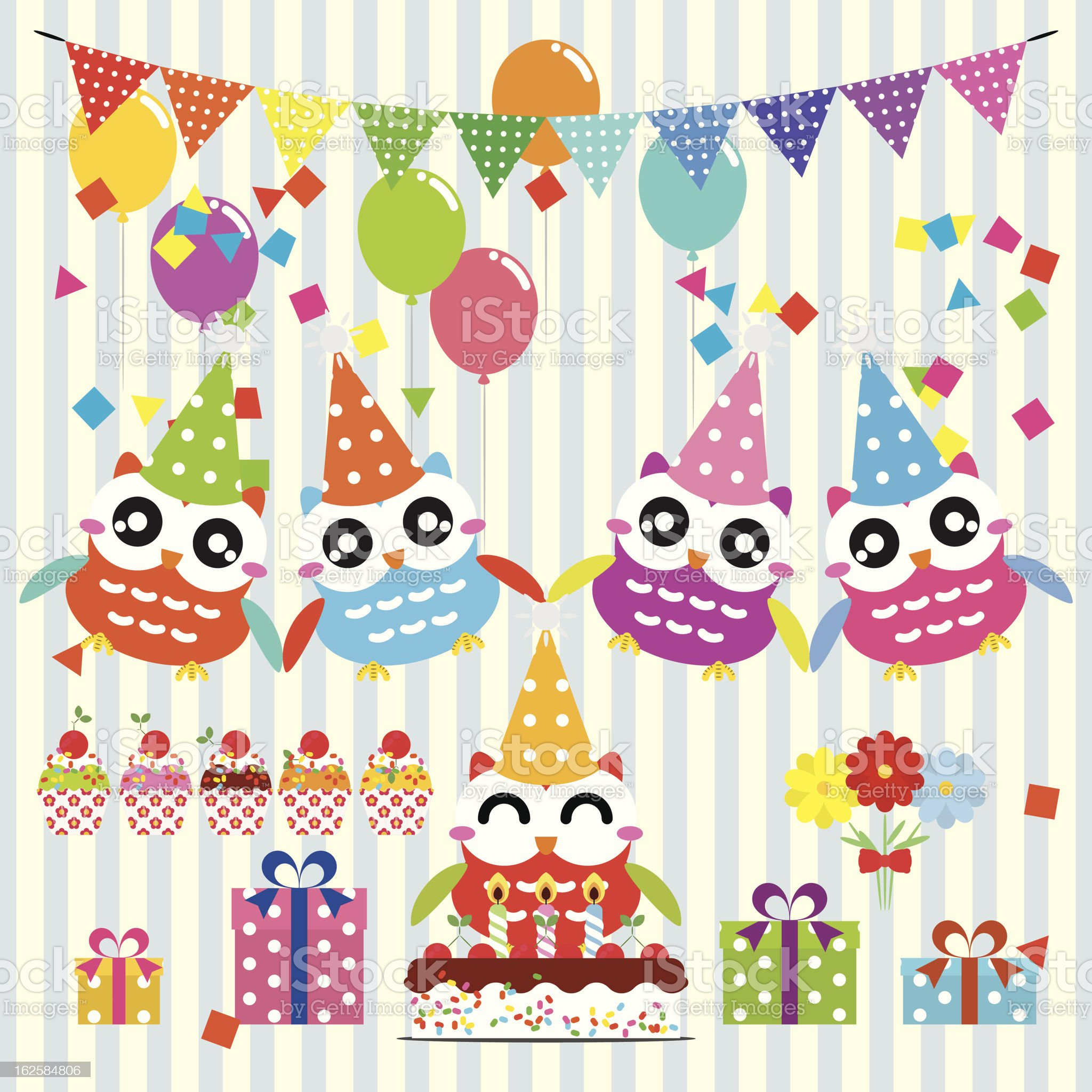 Owl birthday party design elements royalty-free stock vector art