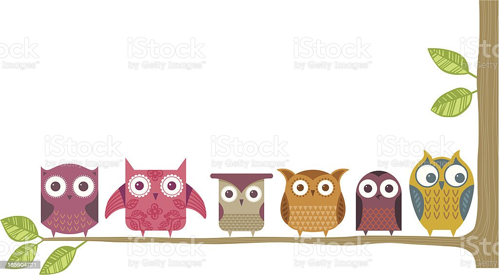 Owl branch vector art illustration