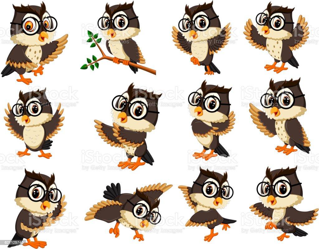 owl cartoon vector art illustration