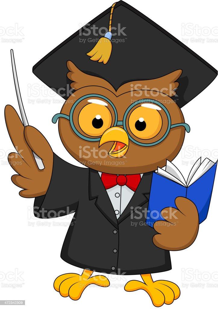 Owl cartoon wearing a graduation uniform giving presentation royalty-free stock vector art