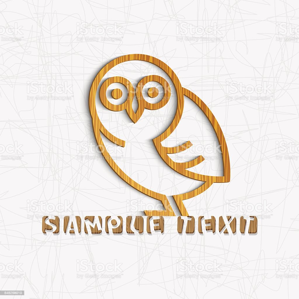 Owl carved from textured wood vector art illustration