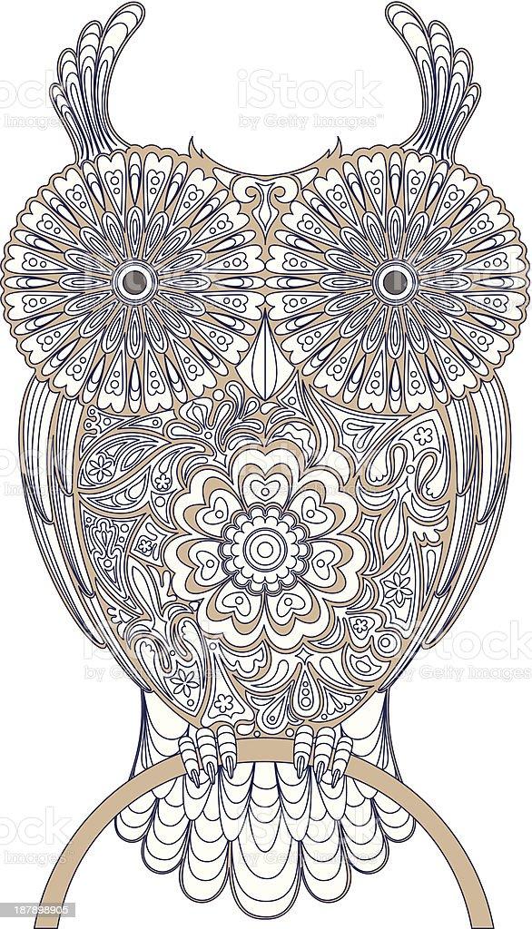 Owl, circuit vector art illustration