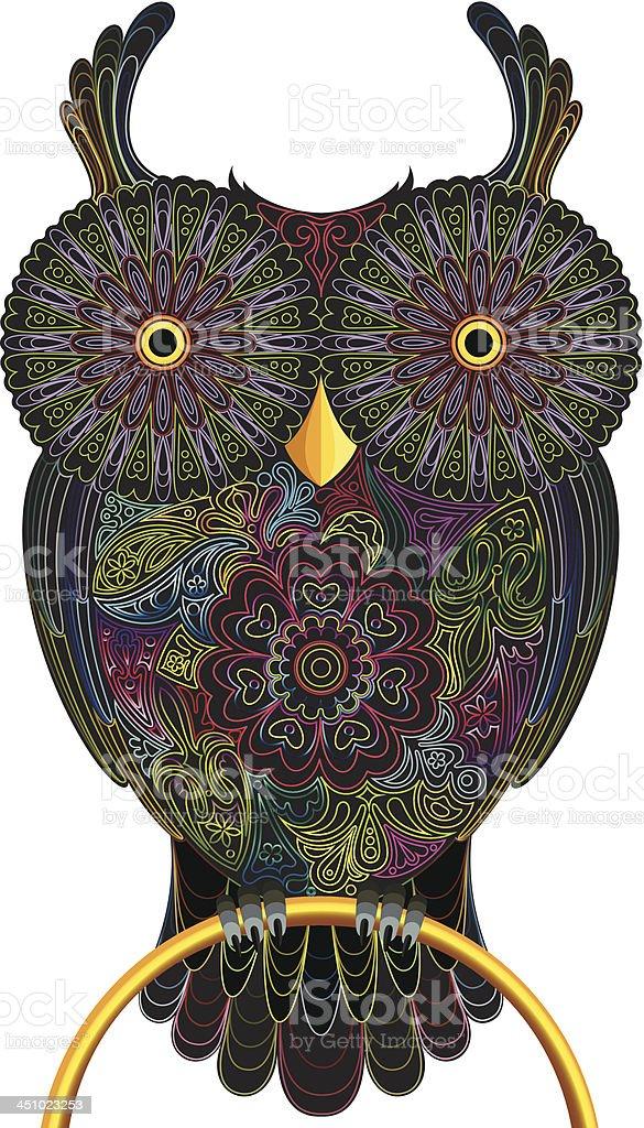 Owl, color contour vector art illustration