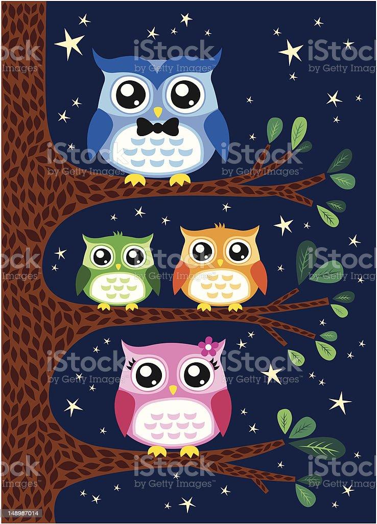 owl family portrait royalty-free stock vector art