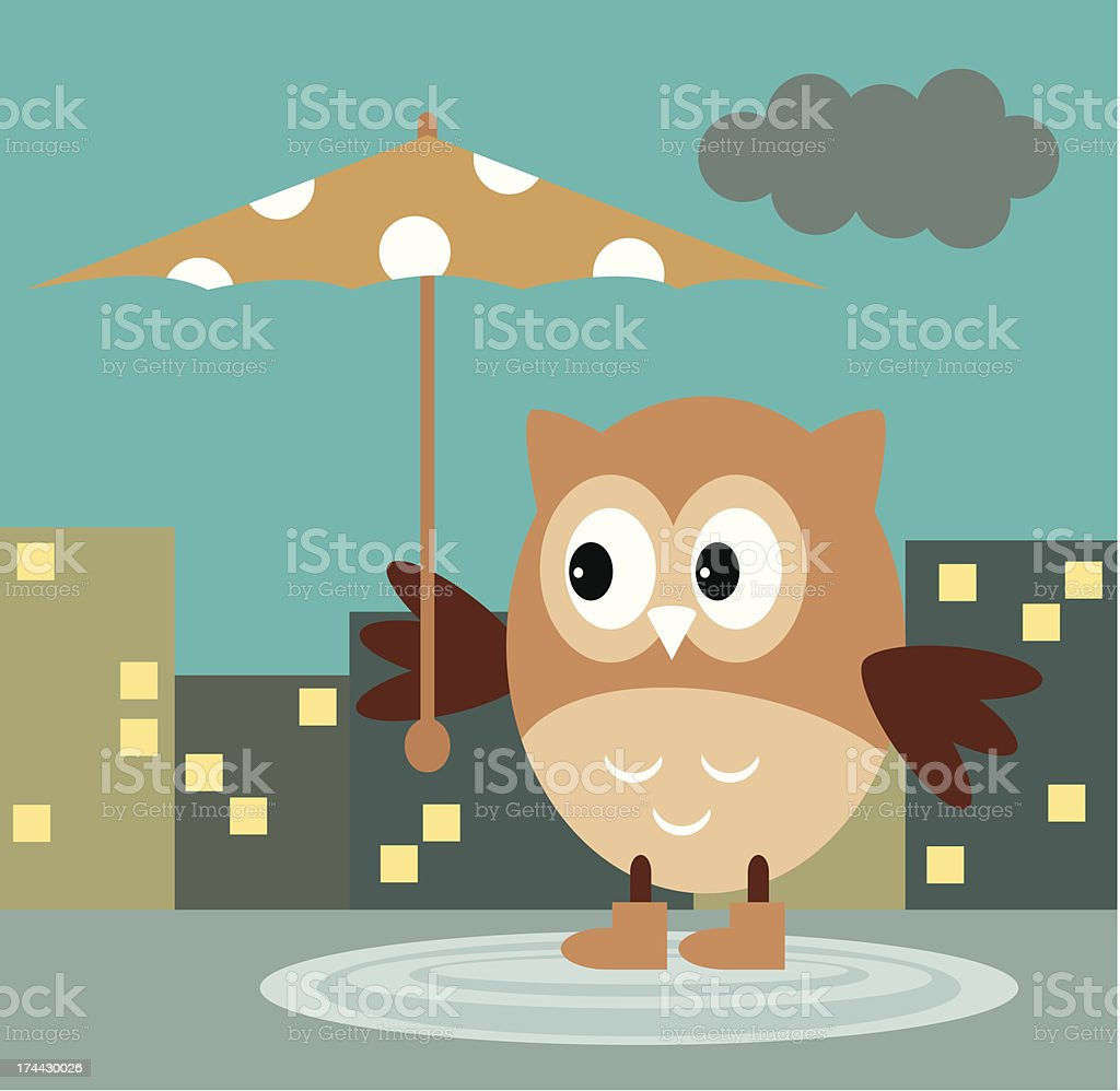 Owl From The Rain Under An Umbrella royalty-free stock vector art
