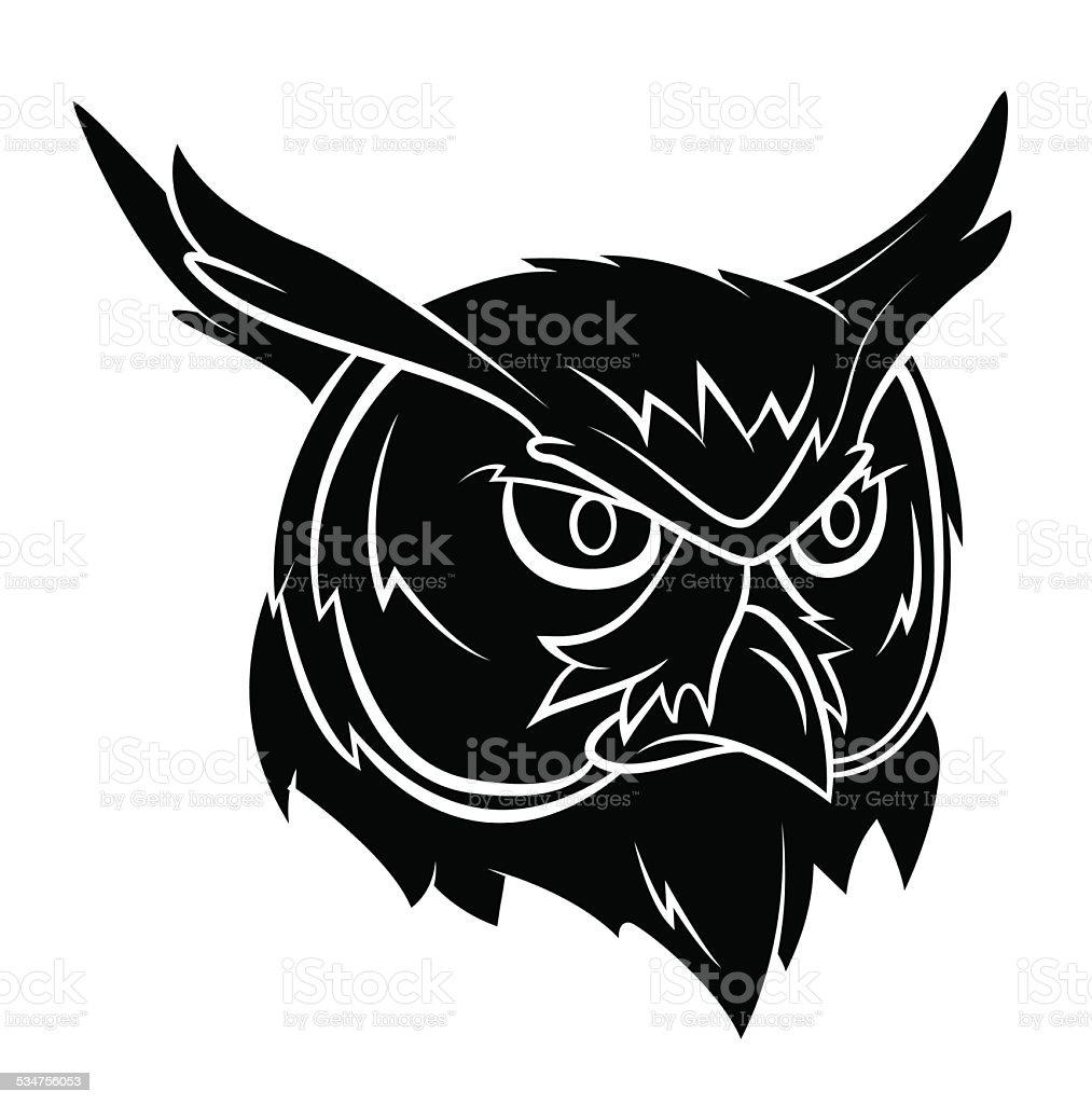 Owl Head Tattoo vector art illustration