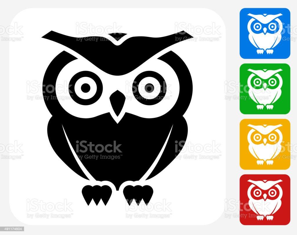Owl Icon Flat Graphic Design vector art illustration