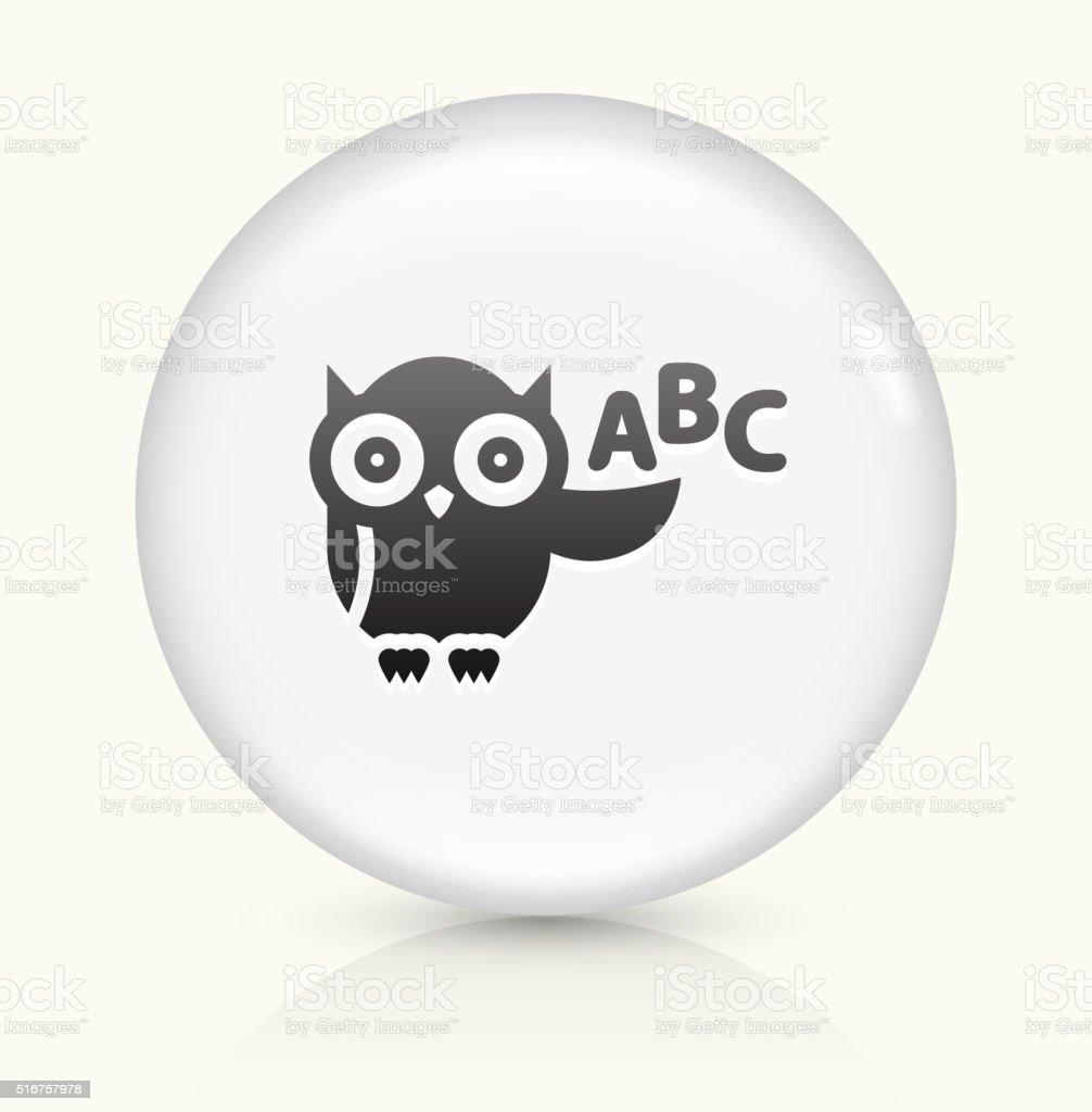 ABC Owl icon on white round vector button vector art illustration