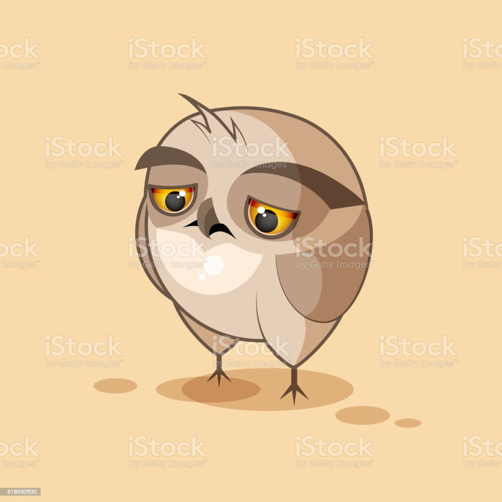 Owl is sad vector art illustration