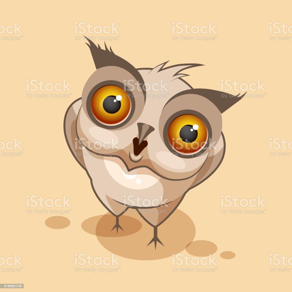 Owl is surprised vector art illustration