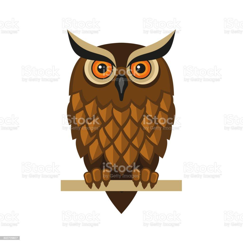 Owl Isolated on White. Vector vector art illustration