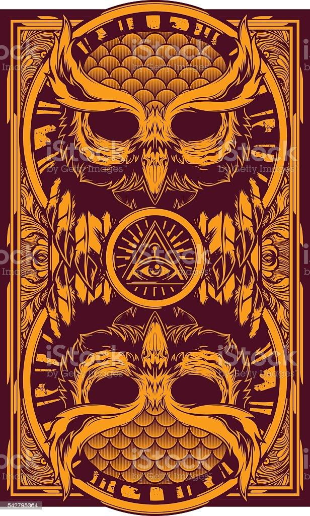 Owl King vector art illustration