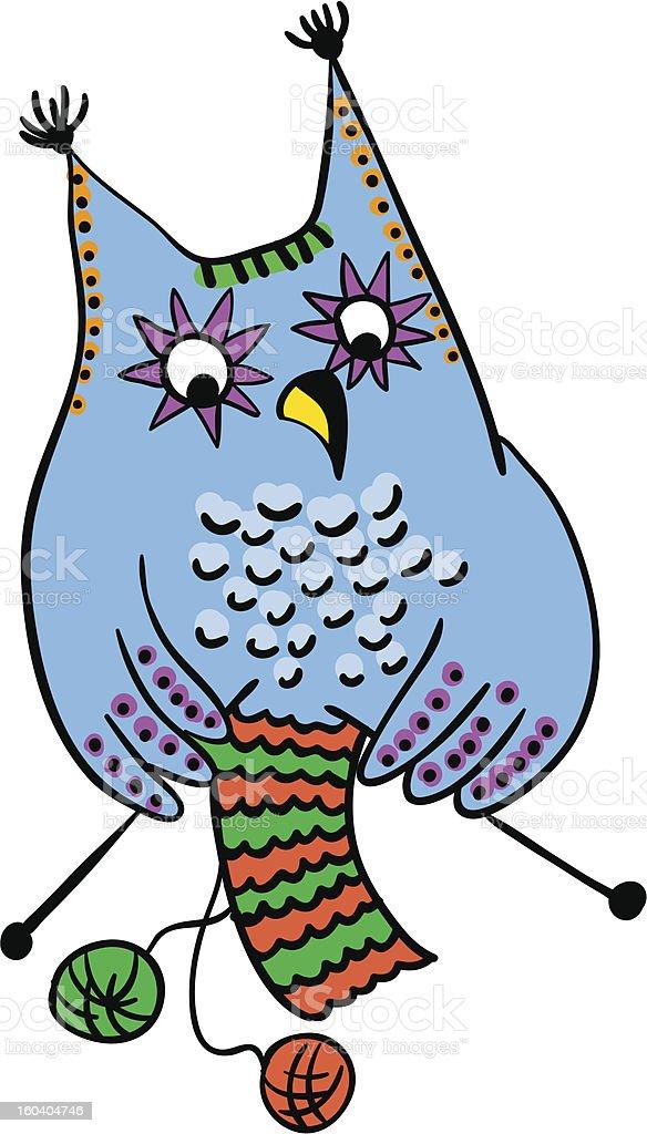 owl knitting wool, handmade concept, vector royalty-free stock vector art