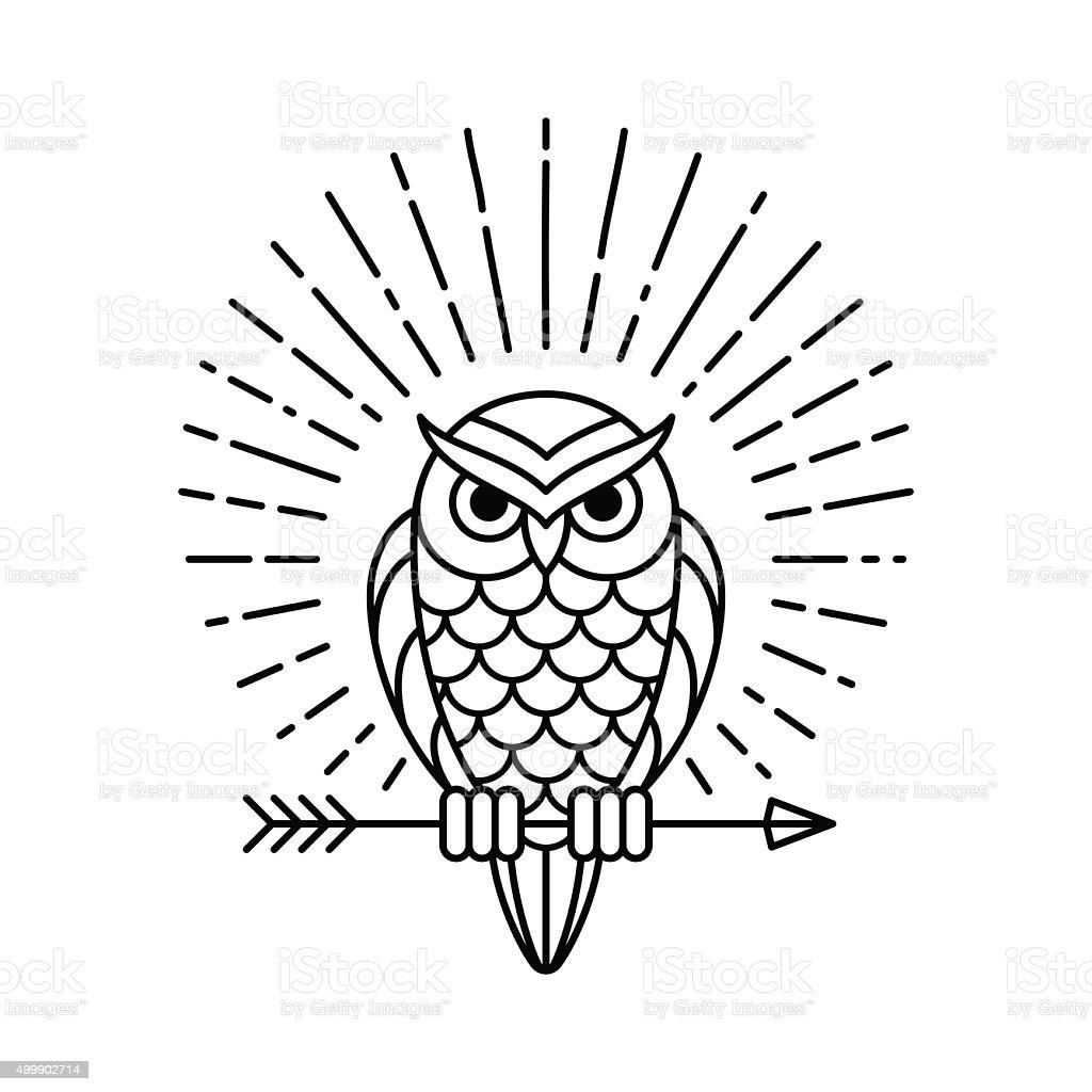 Owl line icon vector art illustration
