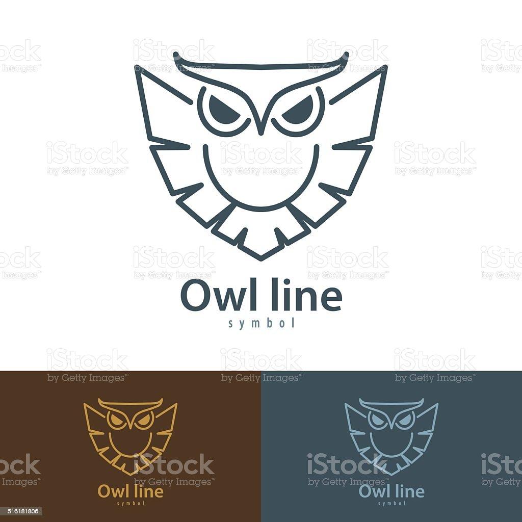 Owl line vector art illustration