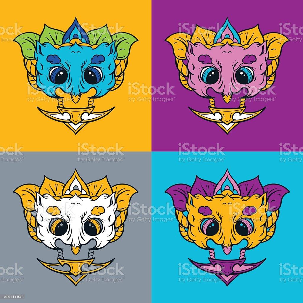 Owl mask. T-shirt print. vector art illustration