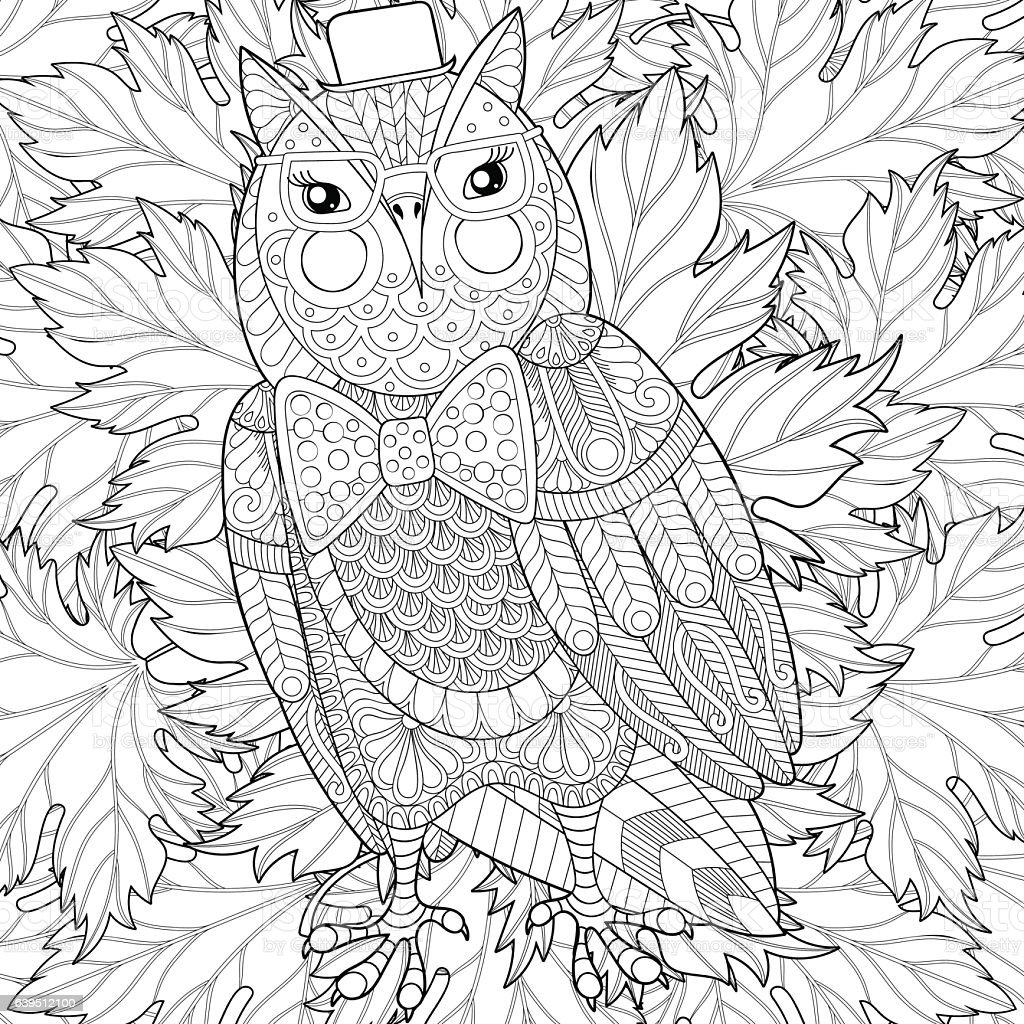 owl painting for anti stress coloring page colo stock vector