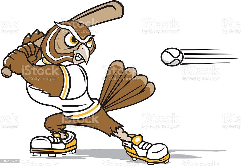 Owl Playing Baseball royalty-free stock vector art