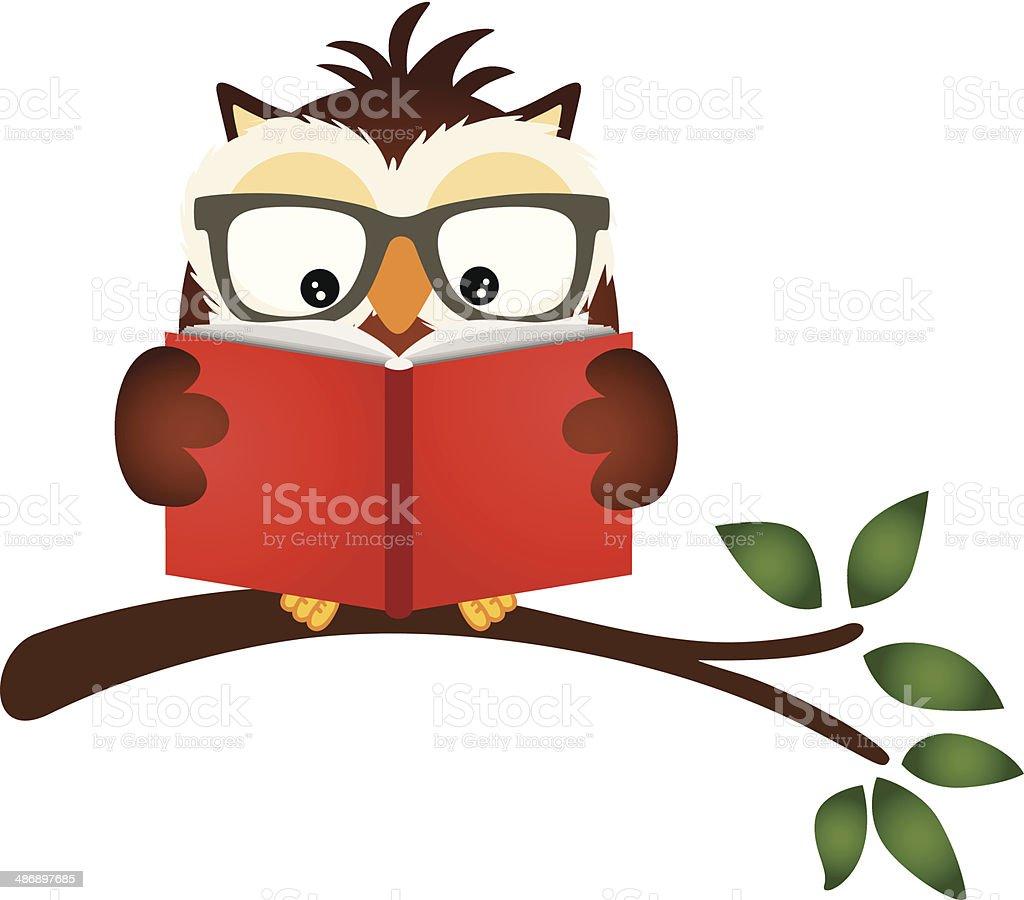 Owl reading a book on tree branch vector art illustration