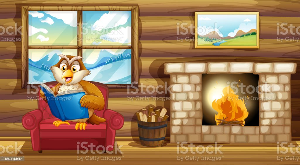 Owl reading book beside a fireplace royalty-free stock vector art