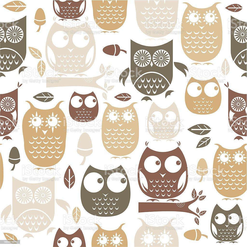 Owl Repeat Pattern vector art illustration