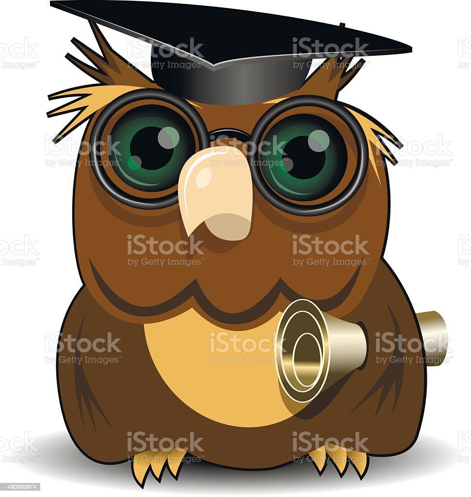 Owl scientist vector art illustration