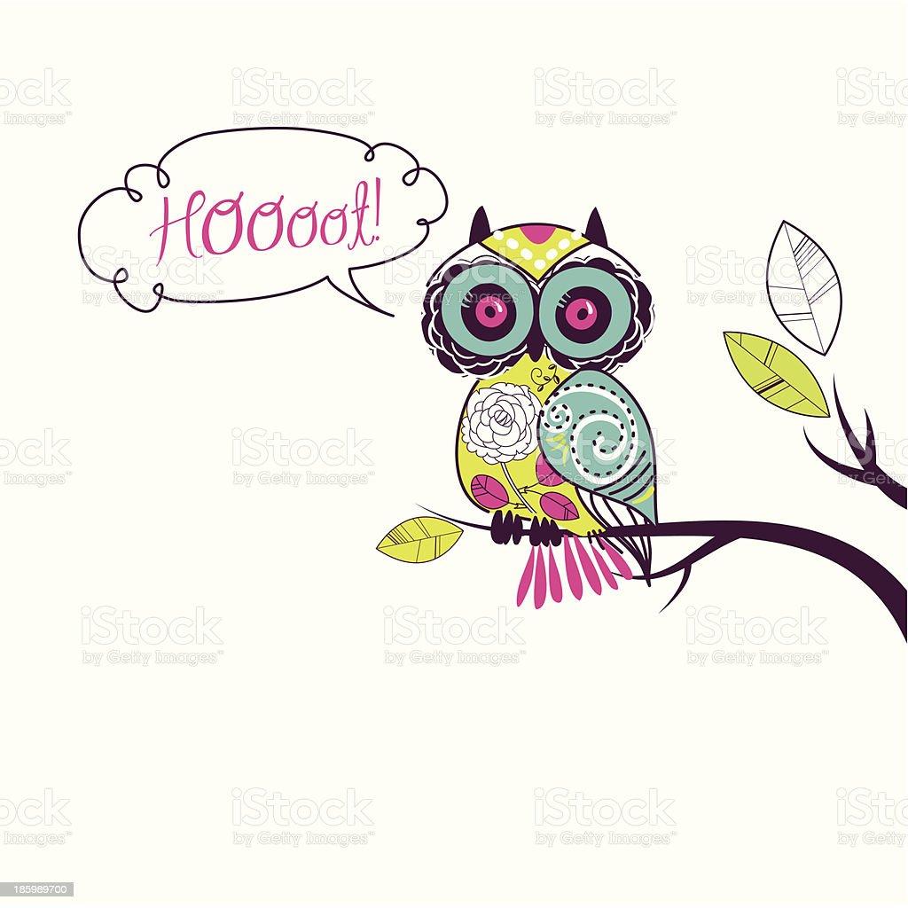 owl sitting on branch vector art illustration
