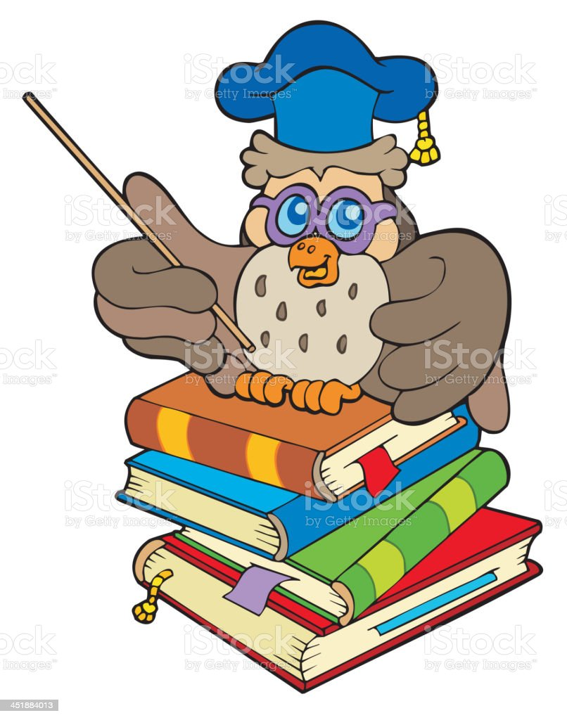 Owl teacher sitting on four books royalty-free stock vector art