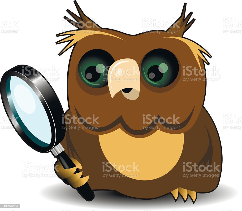 Owl with a magnifying glass vector art illustration
