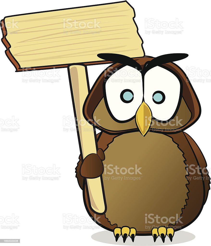 Owl with a Sign Cartoon royalty-free stock vector art