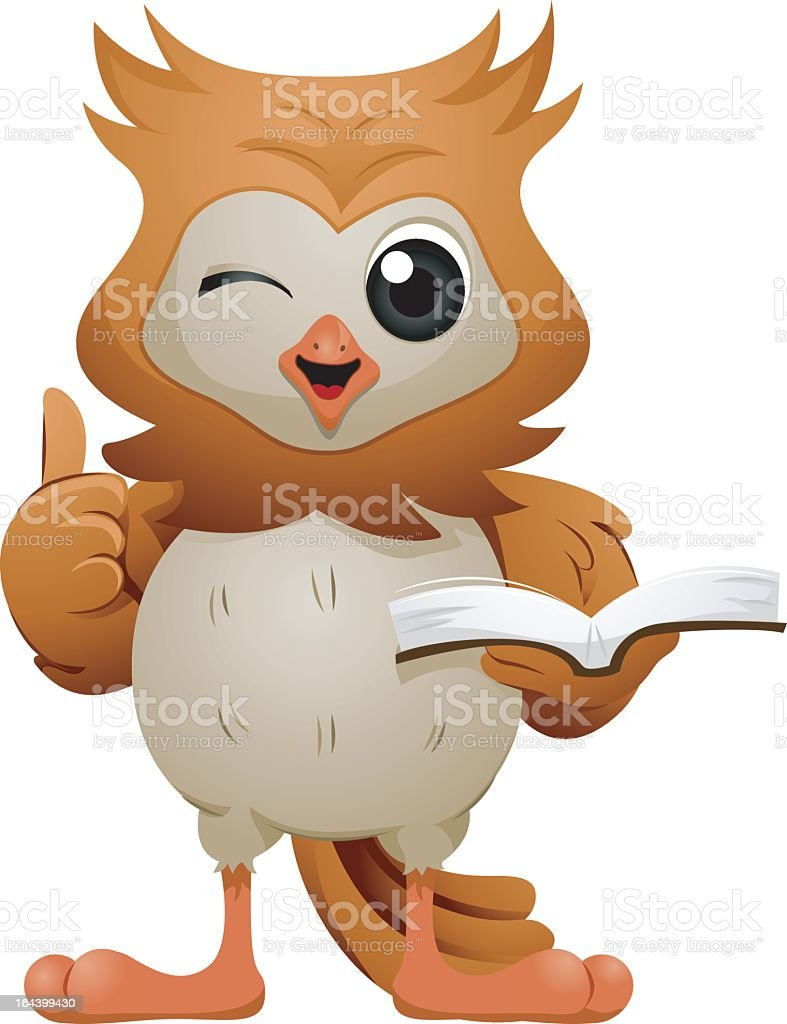 Owl with Book royalty-free stock vector art