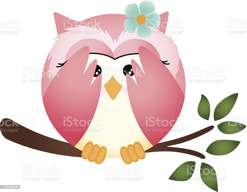 Owl with both wings in cover her eyes royalty-free stock vector art