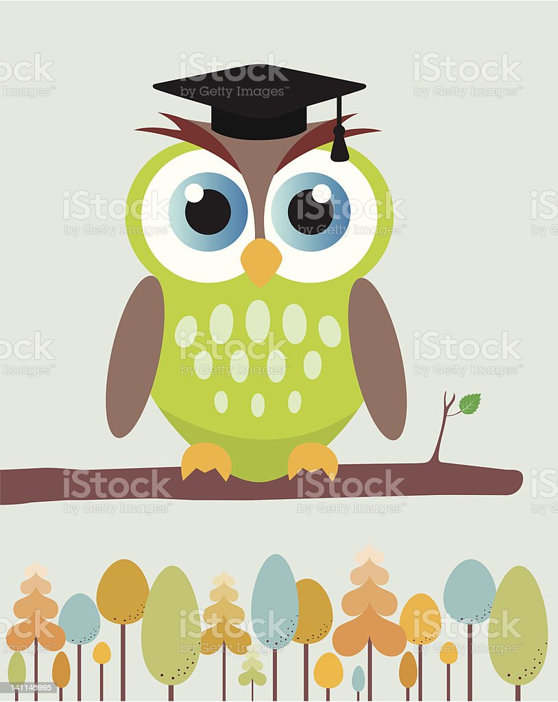 Owl with mortar board hat. royalty-free stock vector art
