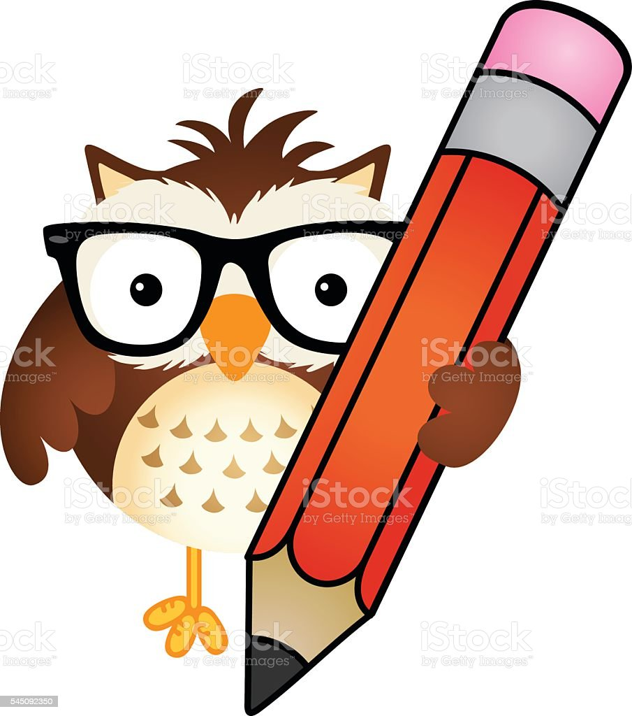 Owl with pencil vector art illustration