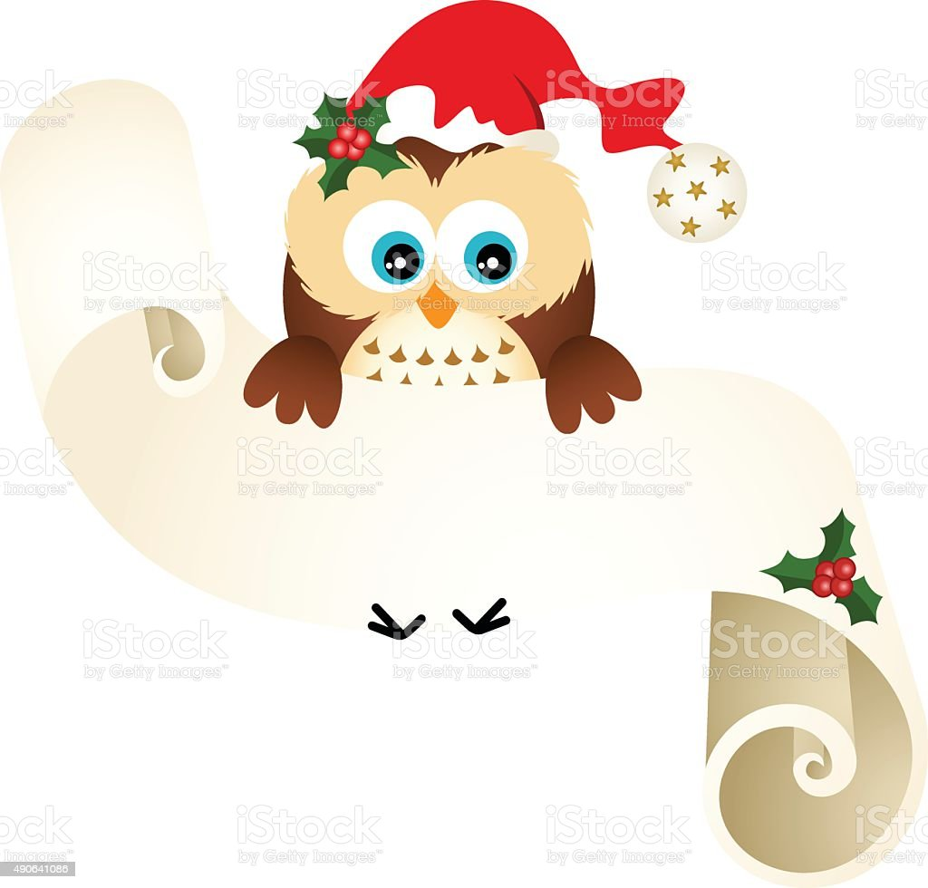 Owl with wishlist for Christmas on a parchment vector art illustration