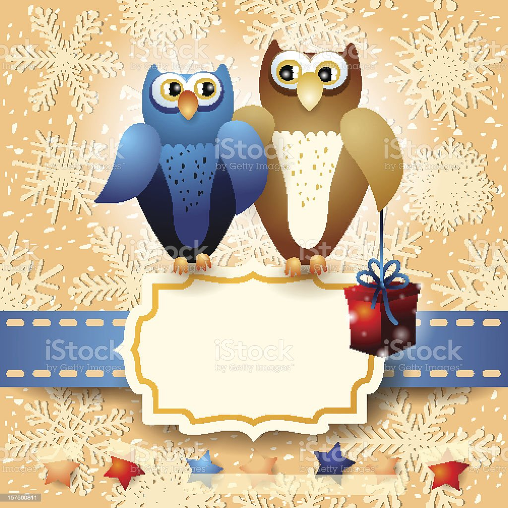 Owls and gift, custom background royalty-free stock vector art