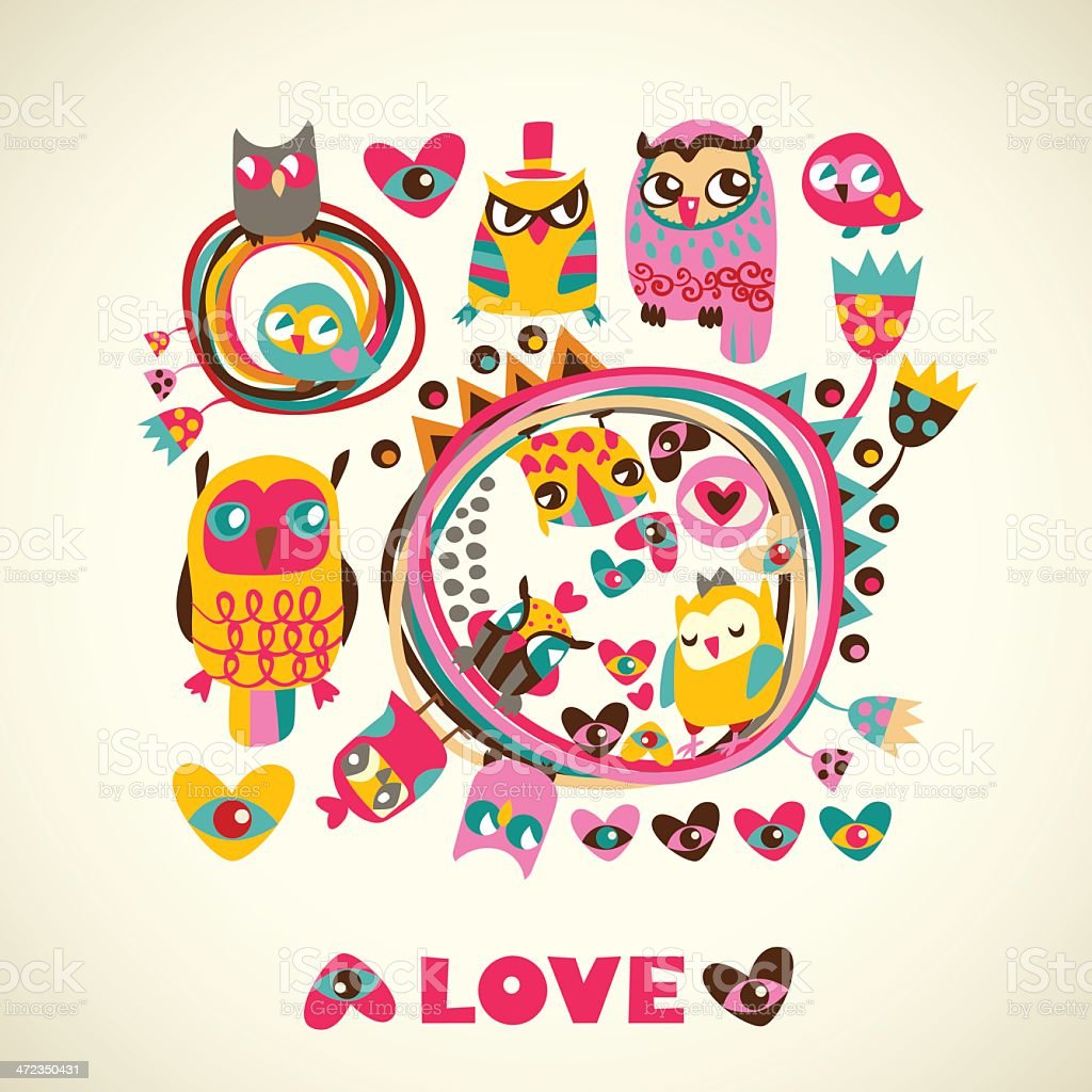 Owls cute background. Template for design cartoon greeting card royalty-free stock vector art