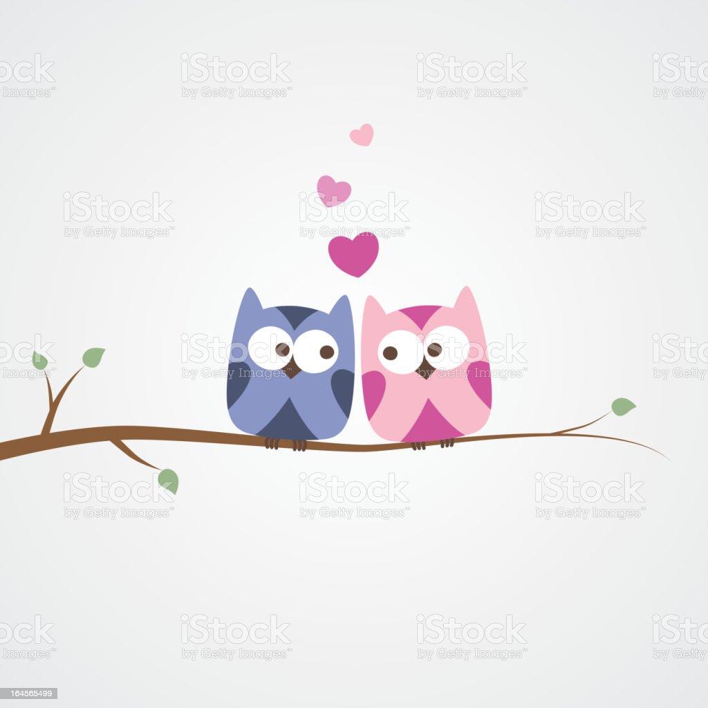 owls in love vector art illustration