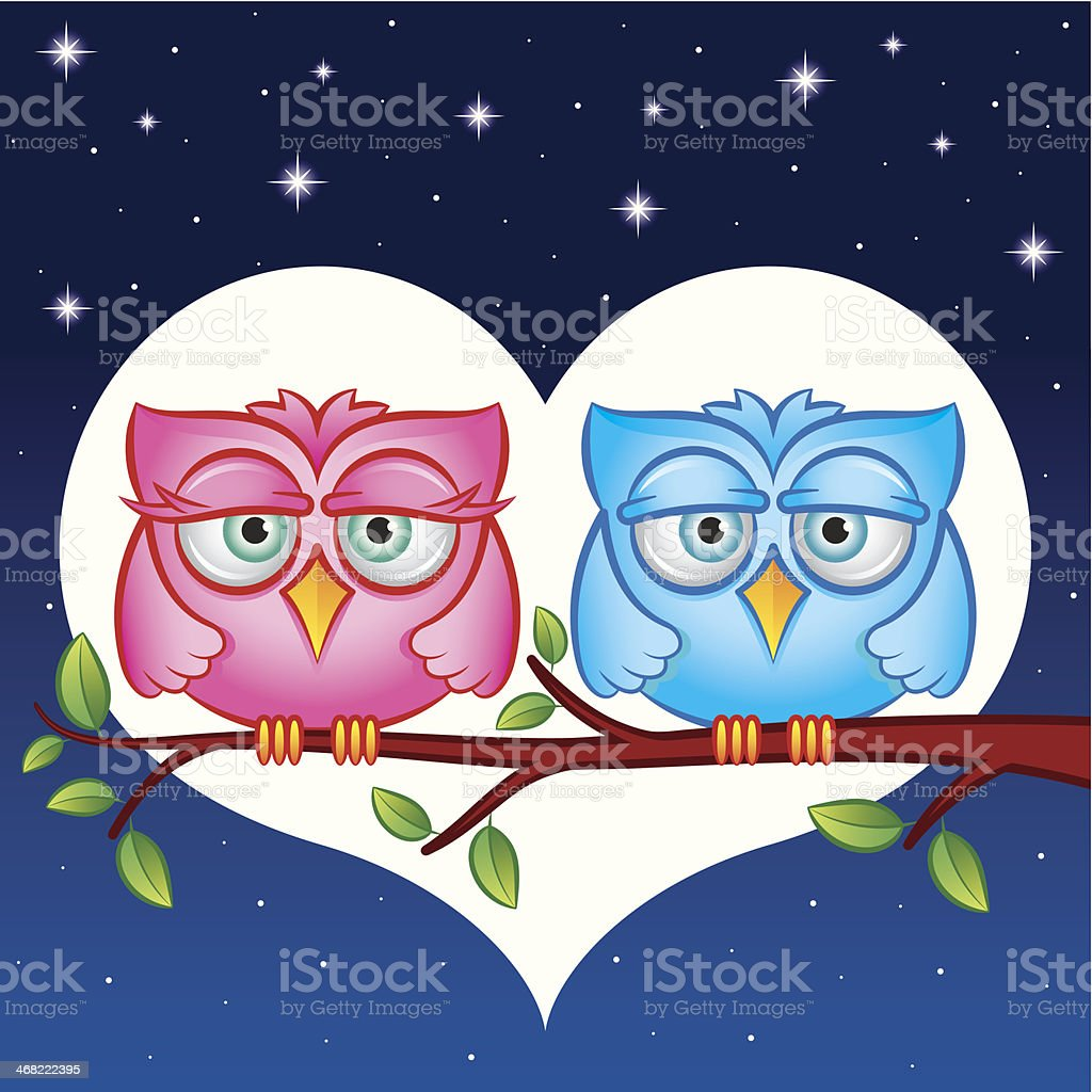 Owls in love royalty-free stock vector art
