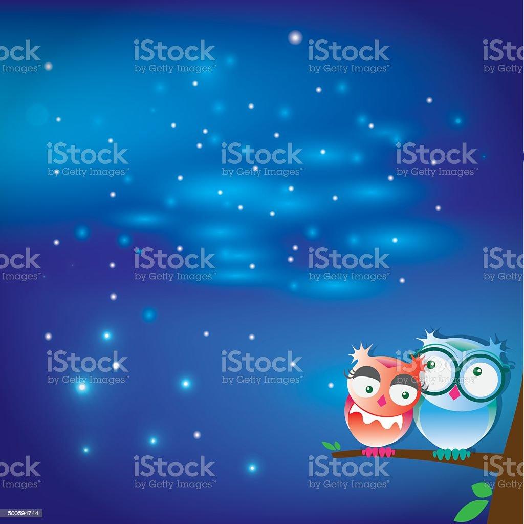 Owls in the night vector art illustration