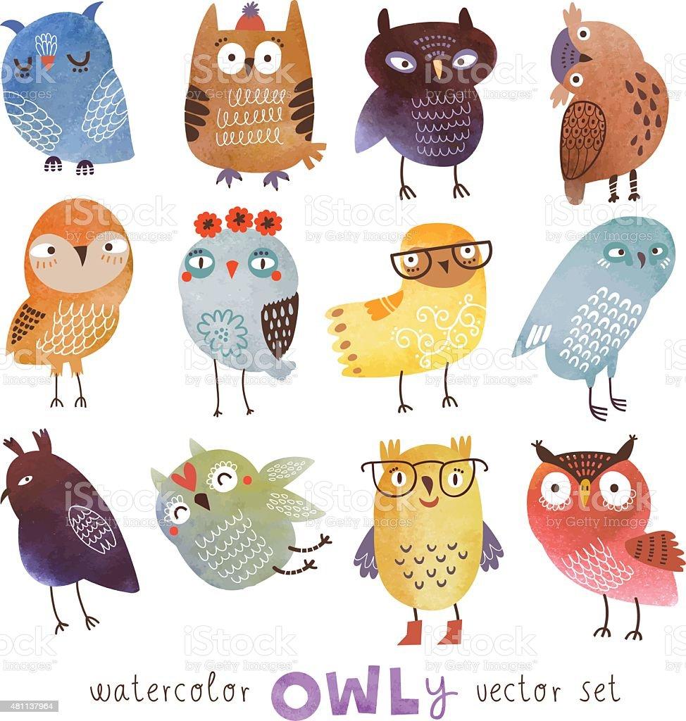 Owls set vector art illustration