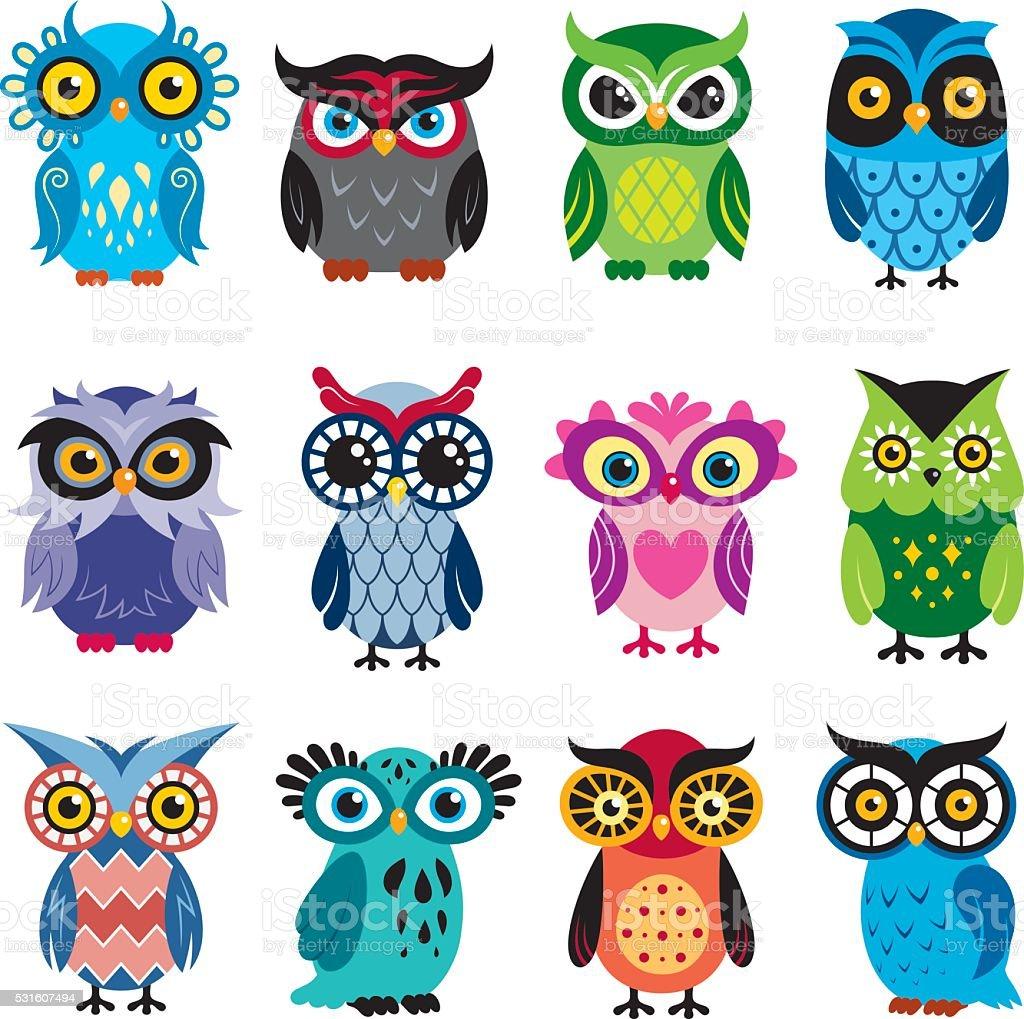 Owls vector art illustration